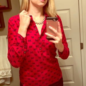 Red J. Crew machine washable silk blouse